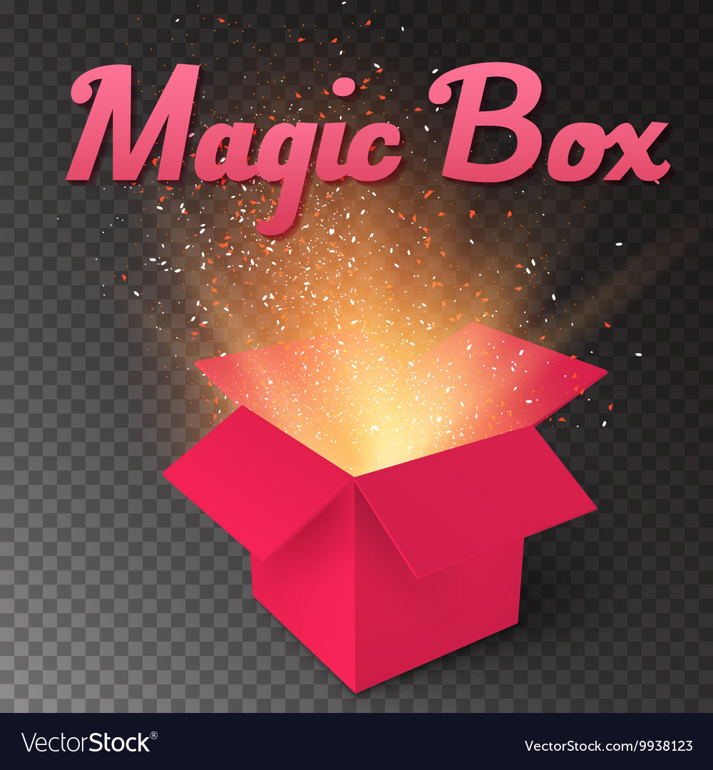 Realistic magic open box magic gift box with vector