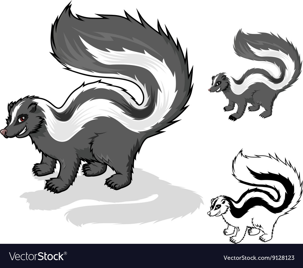 Skunk cartoon character vector