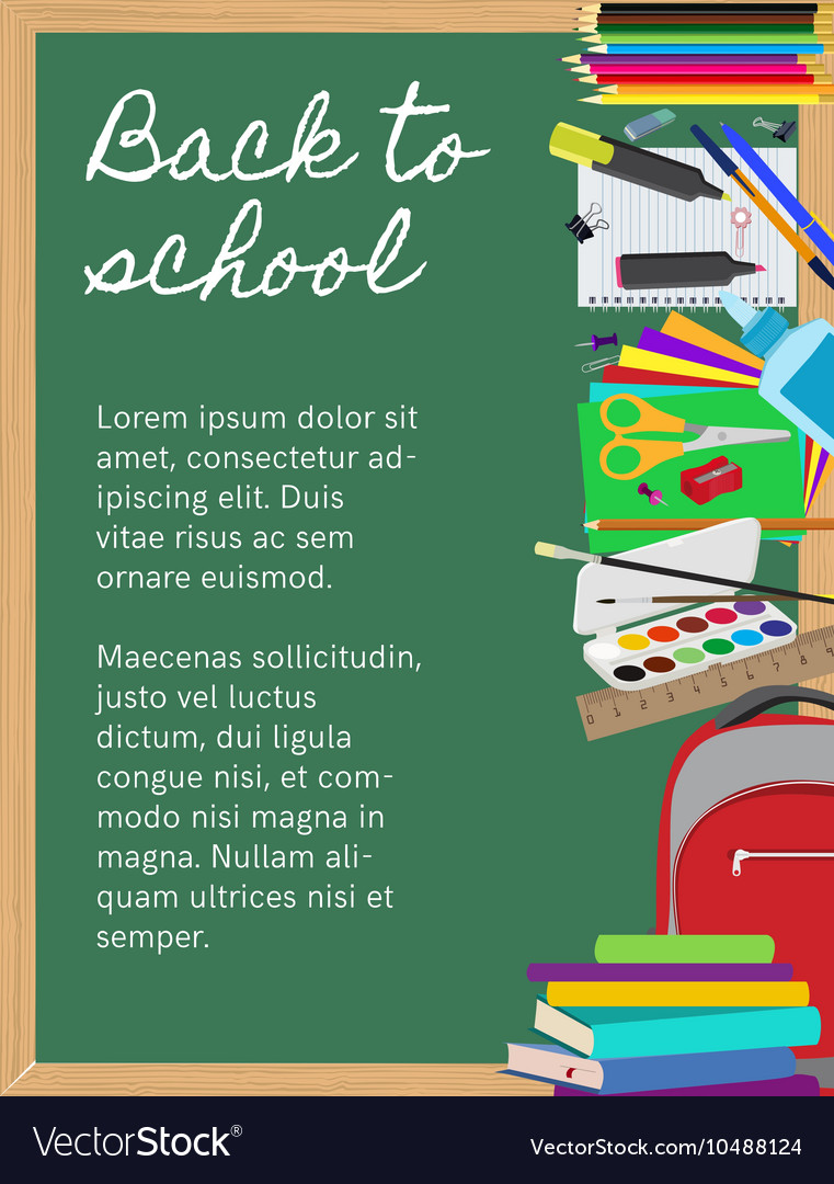 Background with school supplies on chalkboard vector