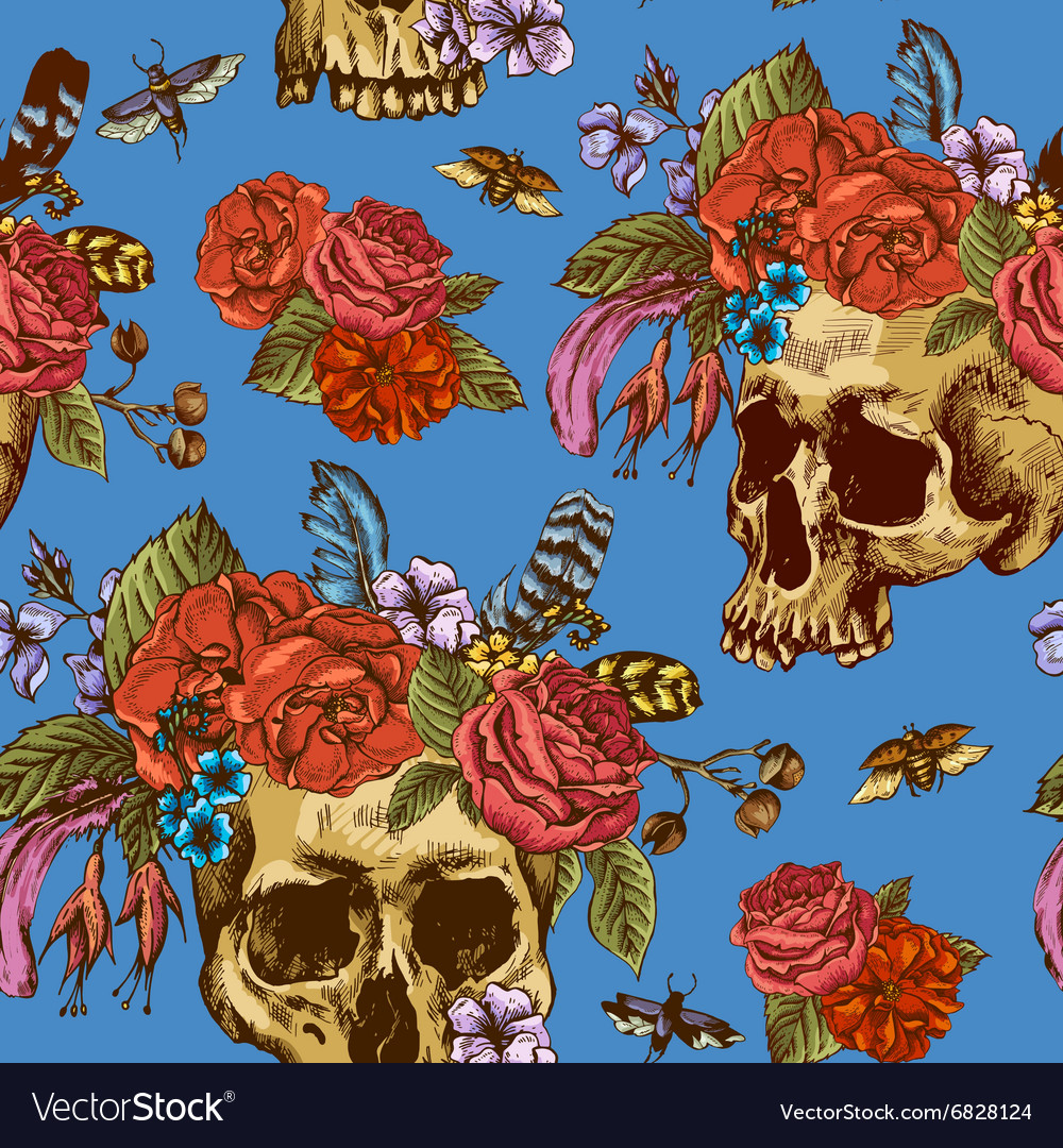 Skull and flowers day of the dead seamless pattern vector