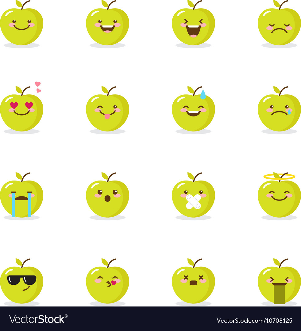 Green apple emoji set funny emoticons vector