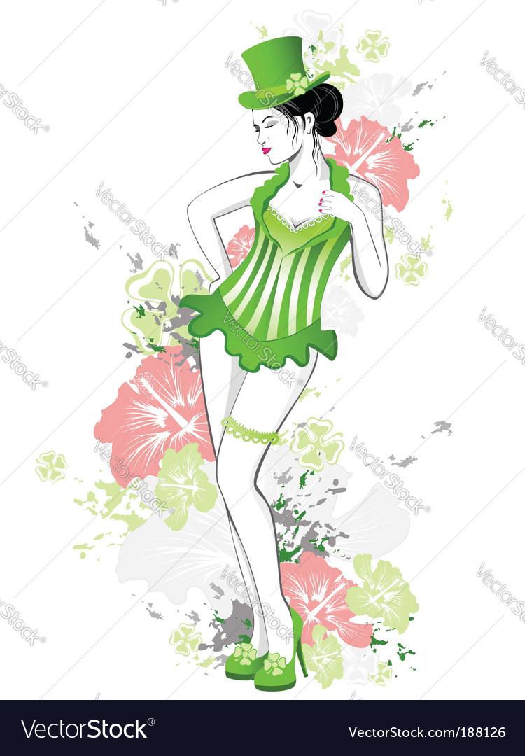 Beautiful girl in green dress vector