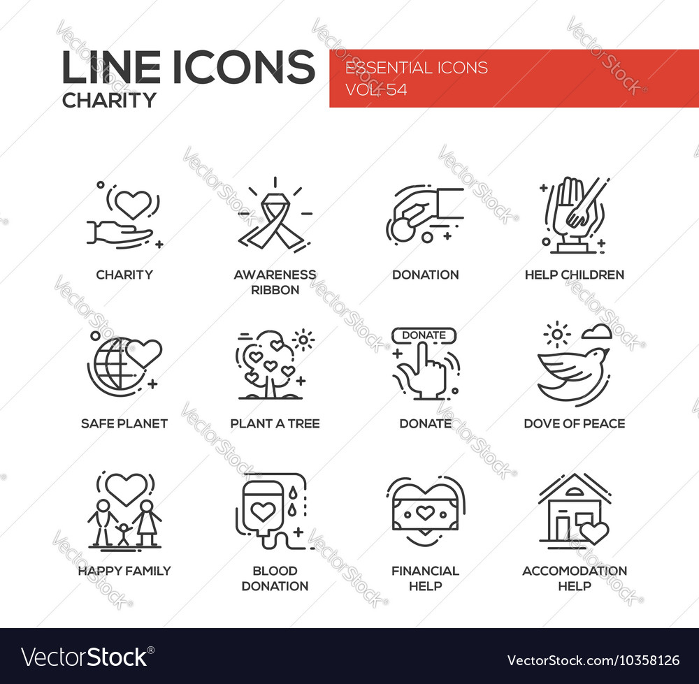 Charity  line design icons set vector