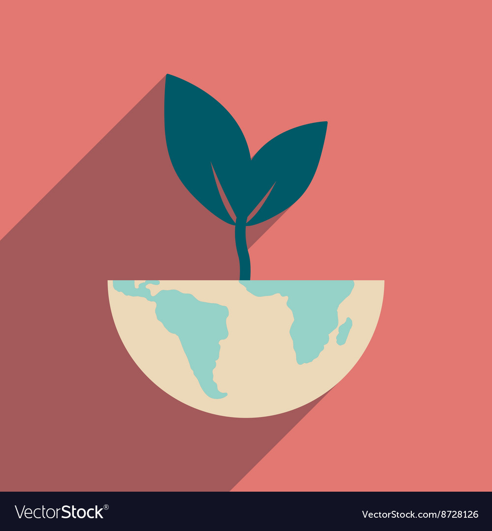 Flat web icon with long shadow earth plant vector