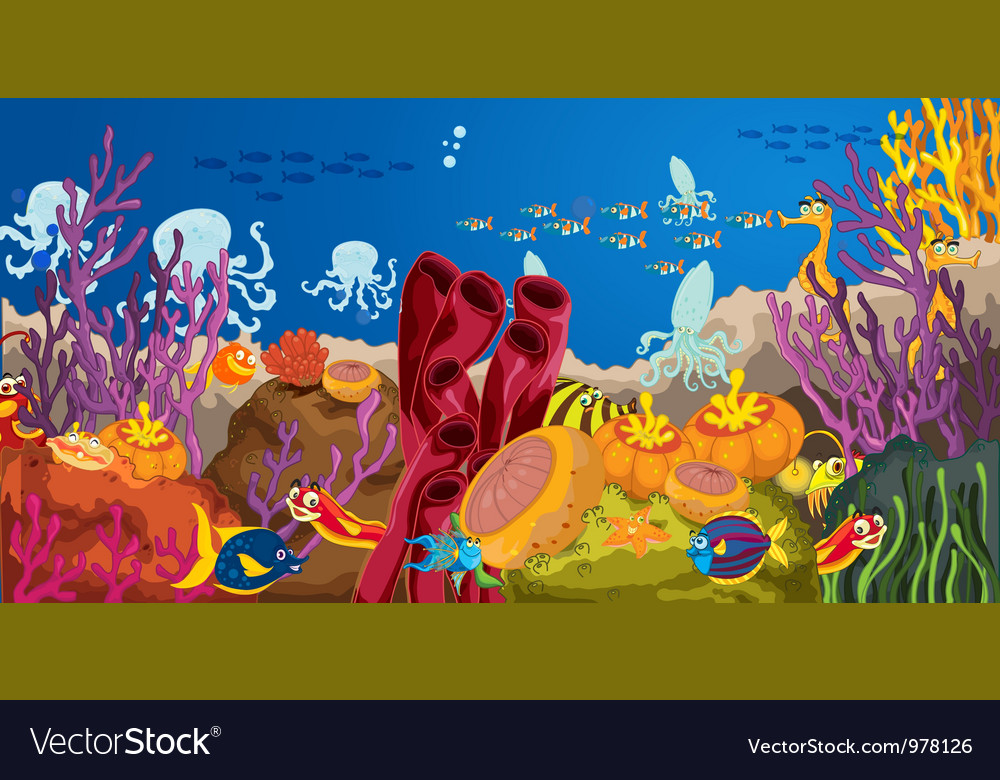 Octopus and coral in water vector