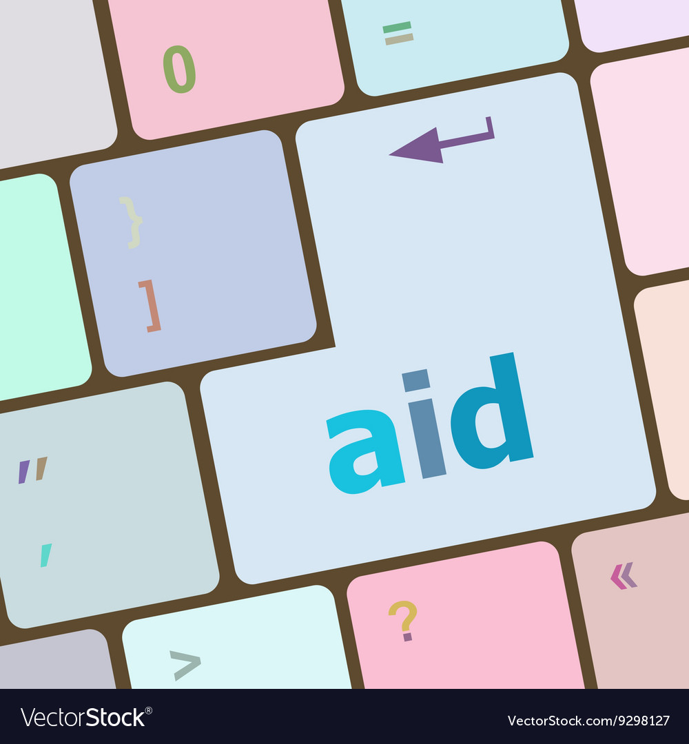 Aid word with key on enter keyboard vector