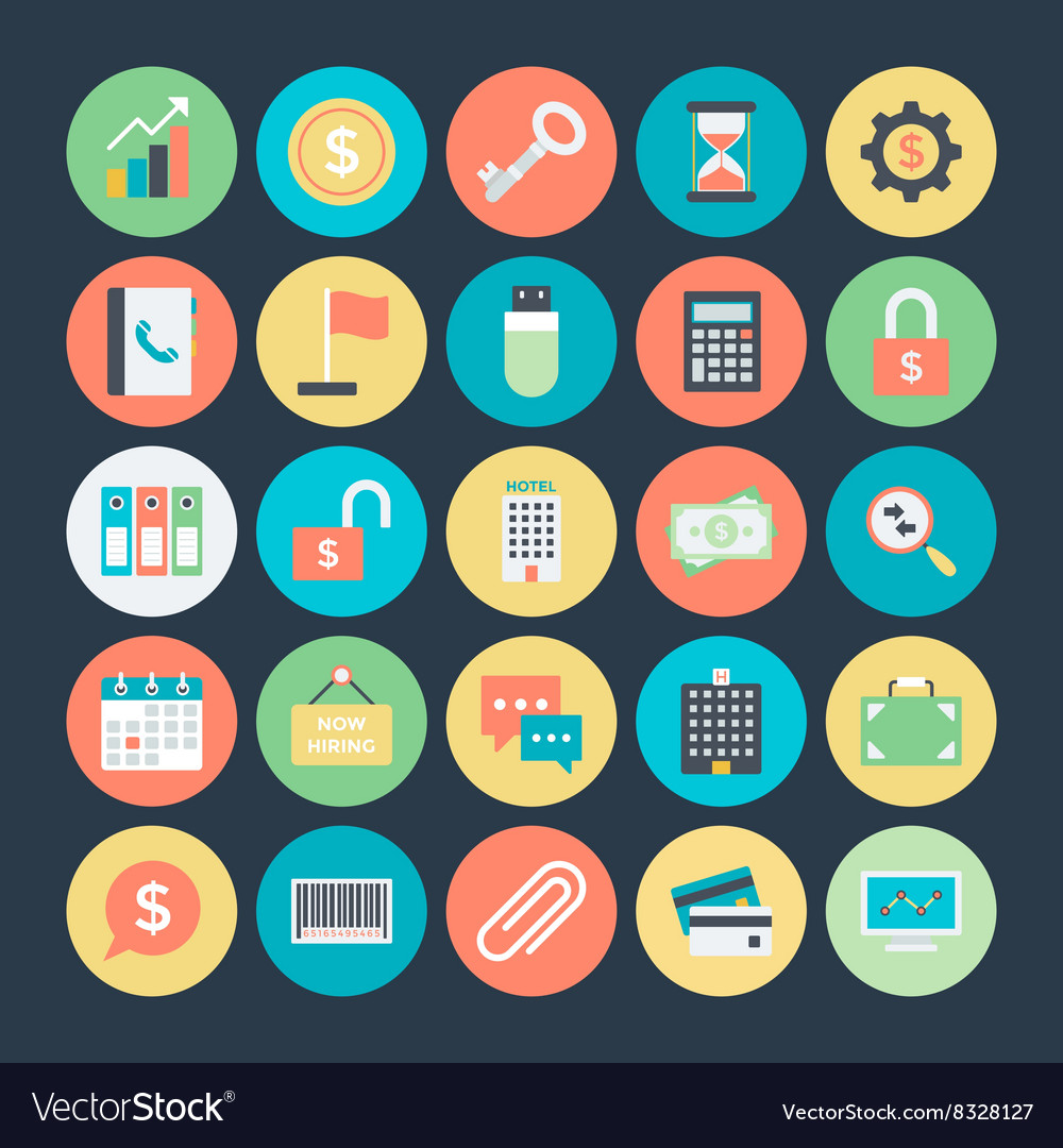 Business colored icons 1 vector