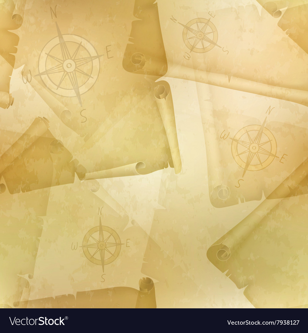 Yellow seamless texture with a compass and old vector