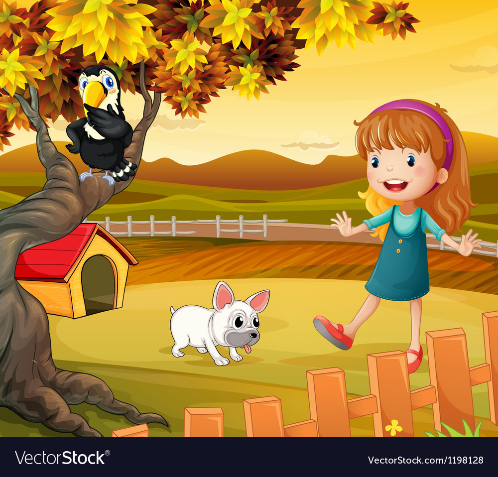A girl with a dog and bird vector