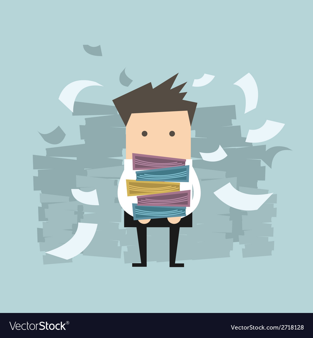 Businessman carrying folders and paper falling vector