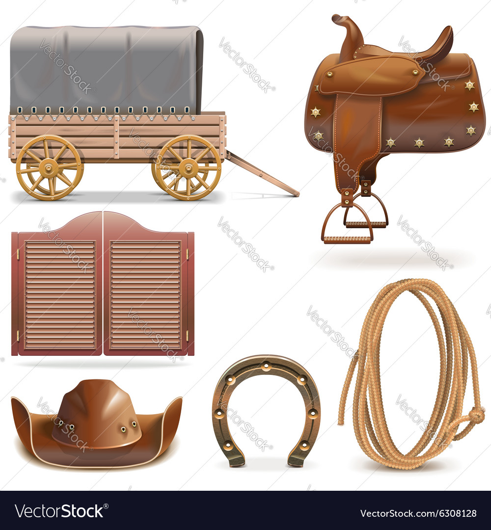 Cowboy icons set 2 vector