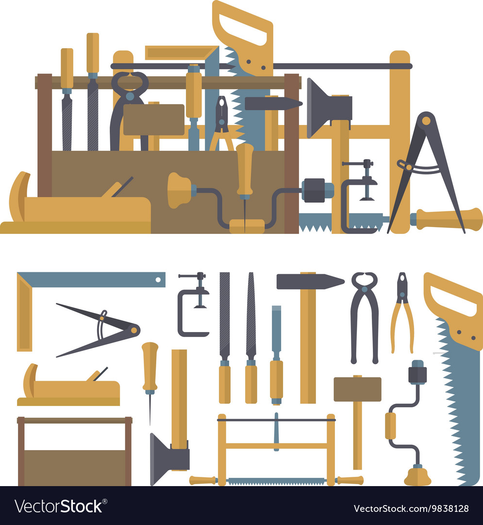 Set of carpenter tools and instruments in vector