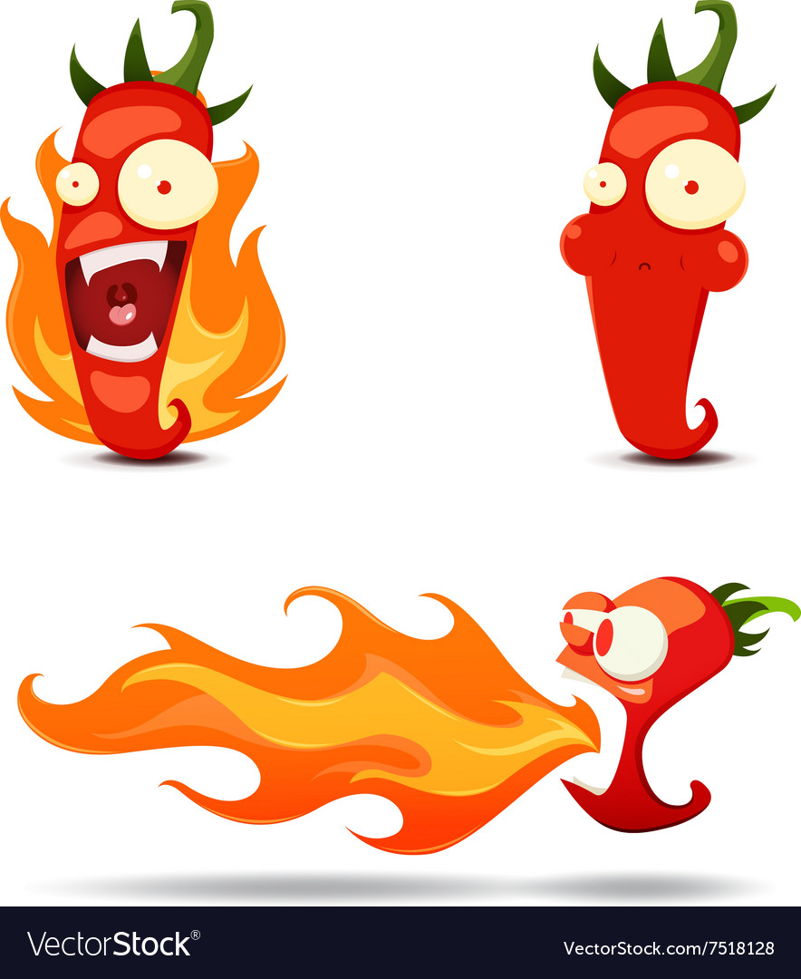 Set of the hot chili peppers in cartoon style  vector