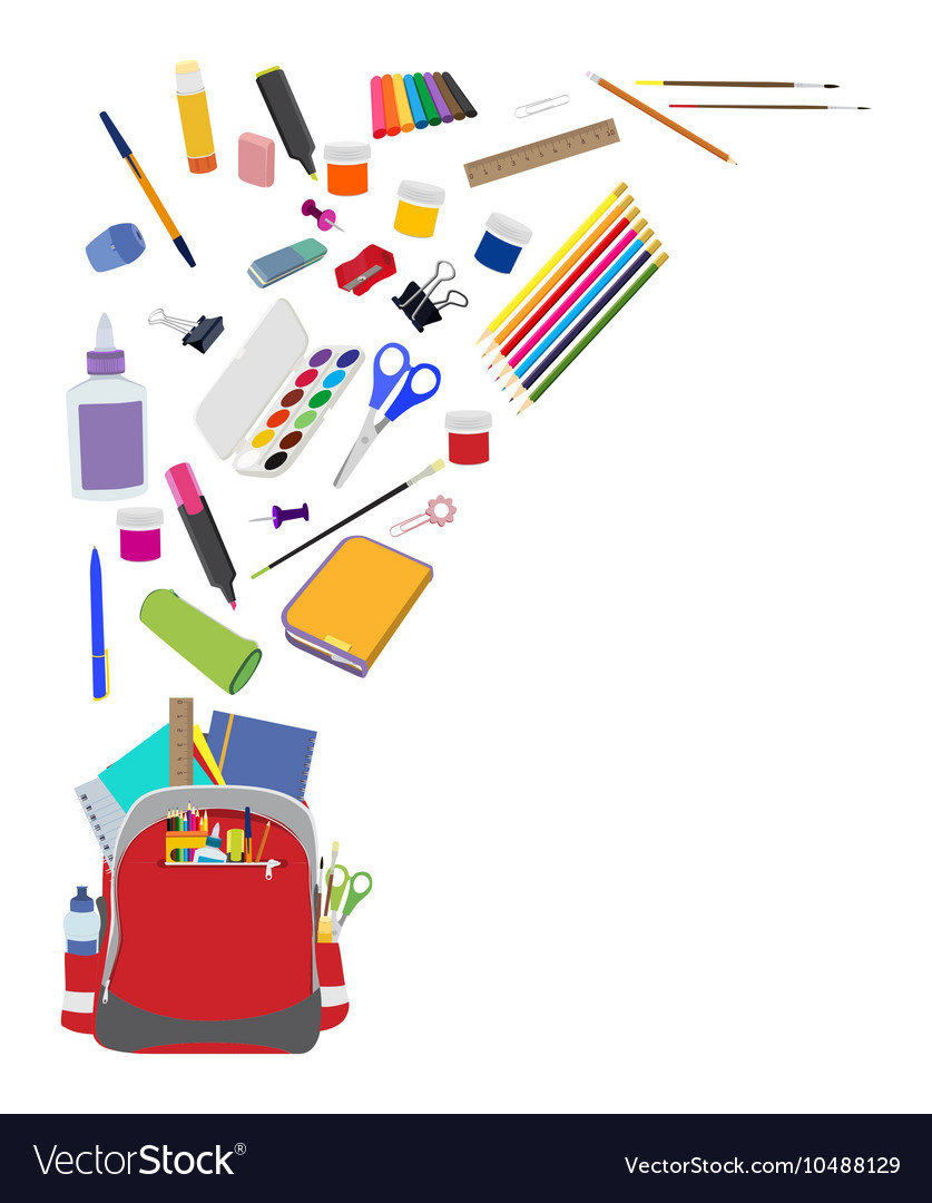 Background with school supplies flat vector