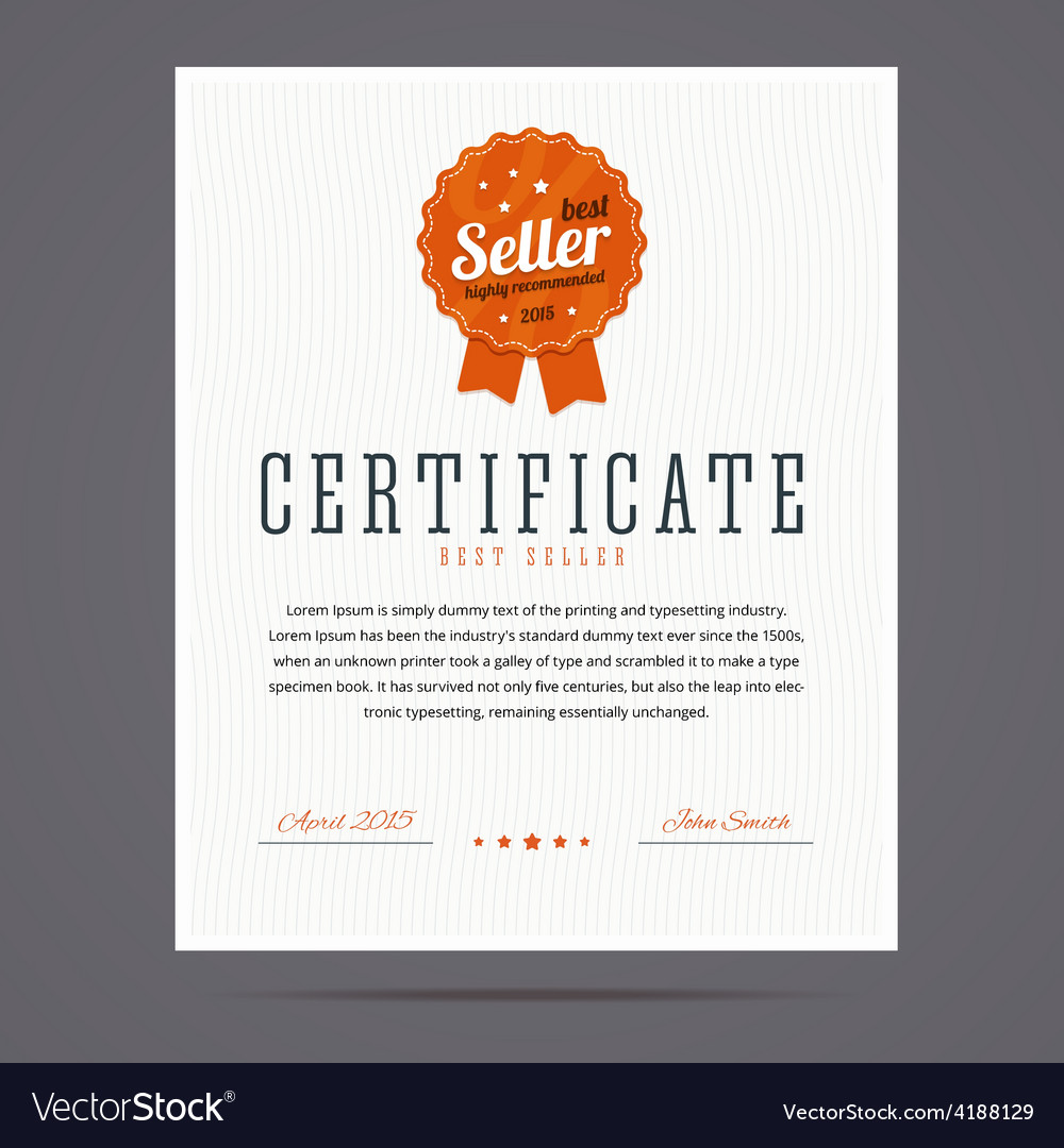 Best seller certificate with stamp vector