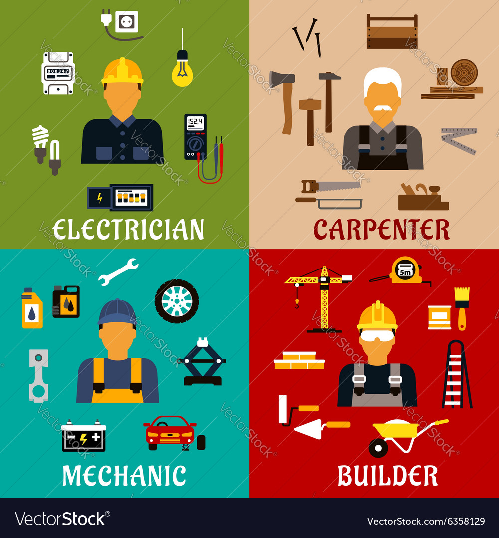 Builder electrician mechanic and carpenter icons vector