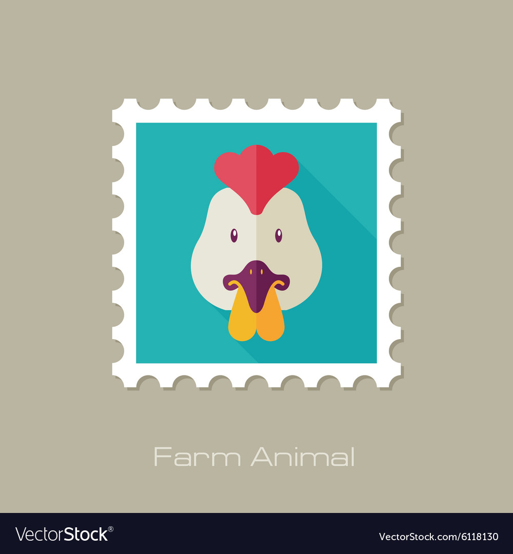 Chicken flat stamp animal head vector