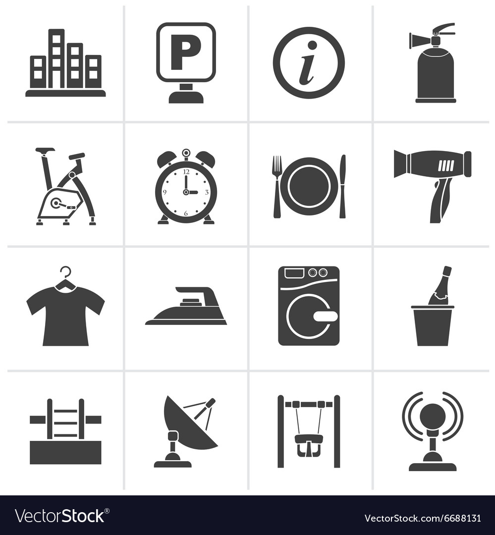 Black hotel and travel icons vector