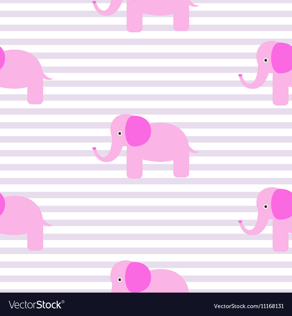 Cute pink elephant seamless pattern vector