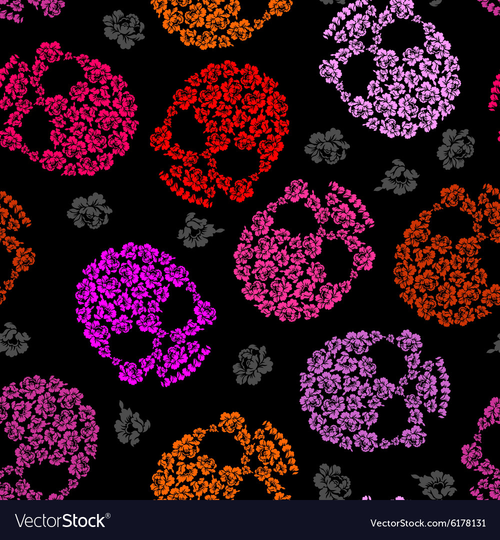 Flower skull pattern scary and cute background vector