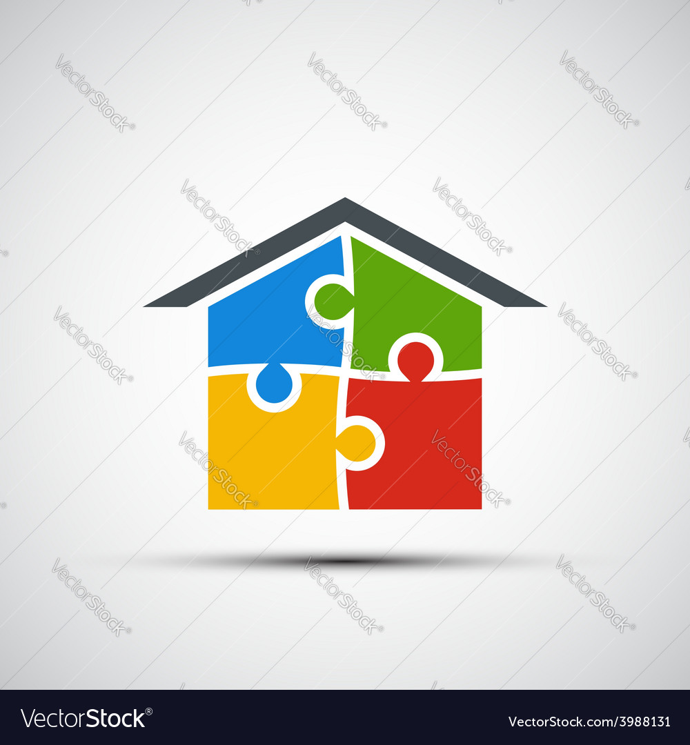 Real estate in the form of puzzles vector