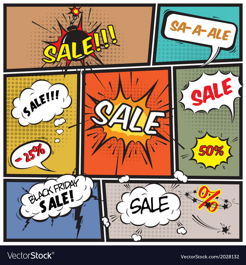Comic best offer sale promotion bubbles vector