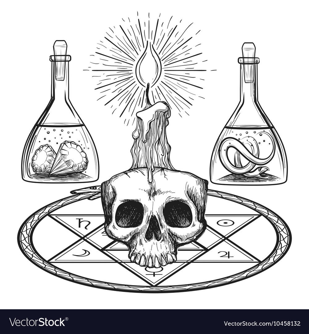 Skull with candle alchemy elements vector