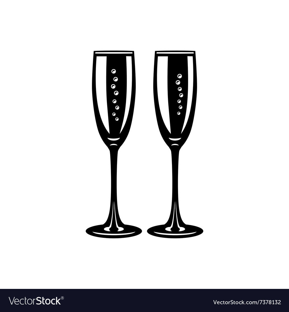 Two glasses champagne simple icon vector