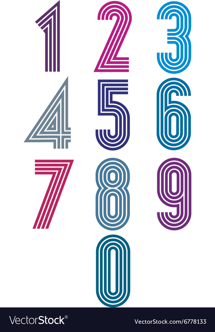 Retro stripes funky numbers set vector