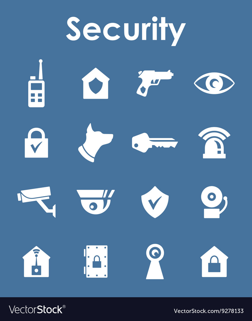 Set of security simple icons vector