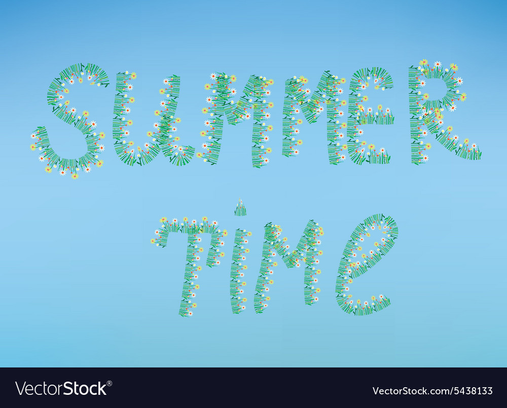 Summer time with flowers and sky vector