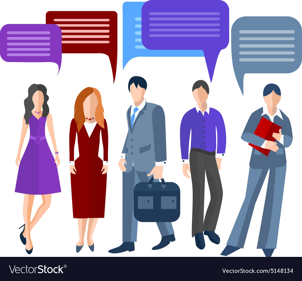 Group business people isolated men women girls vector