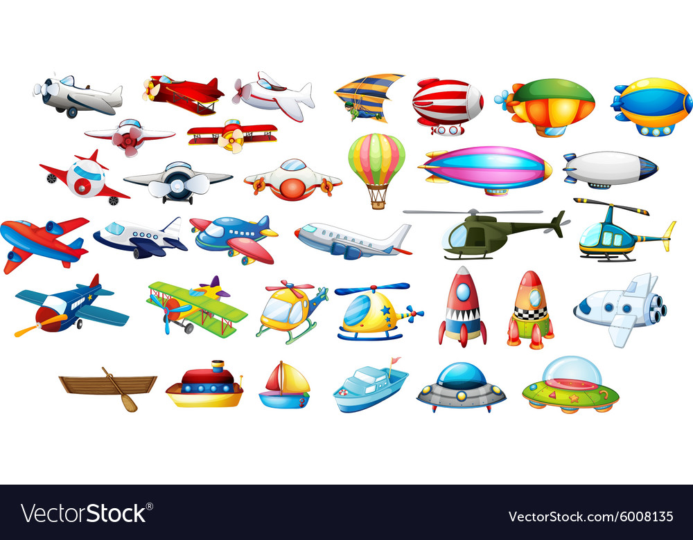 Airplane toys and balloons vector