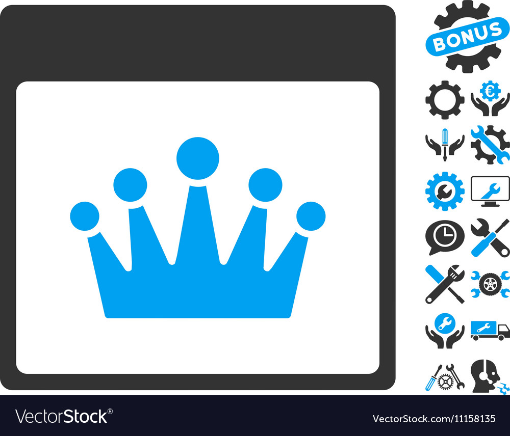 Crown calendar page icon with bonus vector
