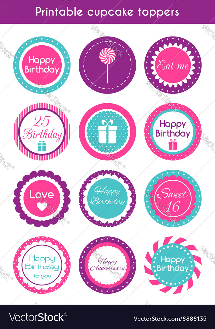 Printable cupcake toppers vector