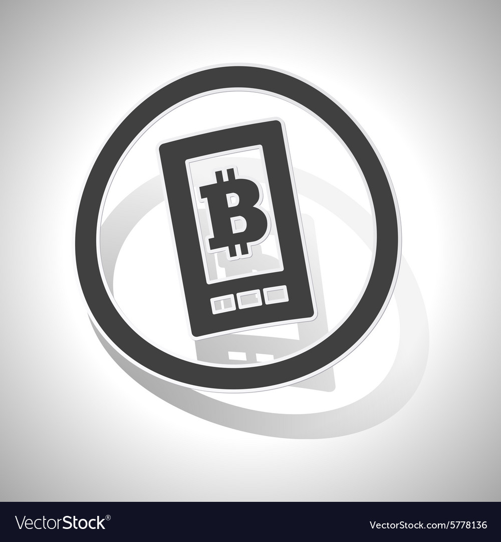 Bitcoin screen sign sticker curved vector