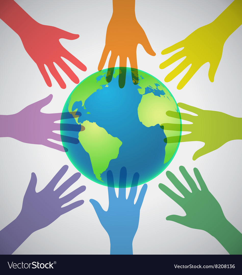 Many colorful hands surrounding the earth globe vector