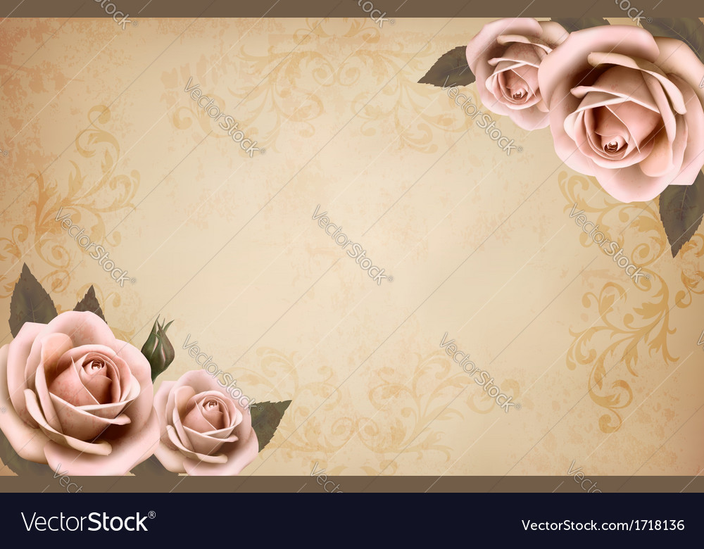 Pink roses on a vintage old paper background vector