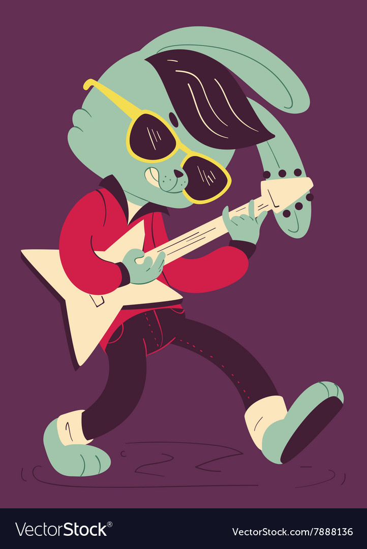 Rockabilly bunny playing guitar vector