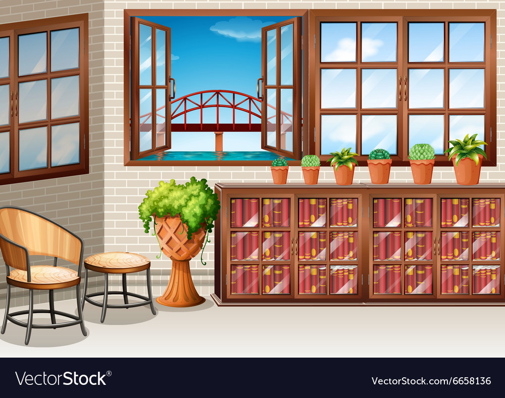 Room with ocean view from window vector