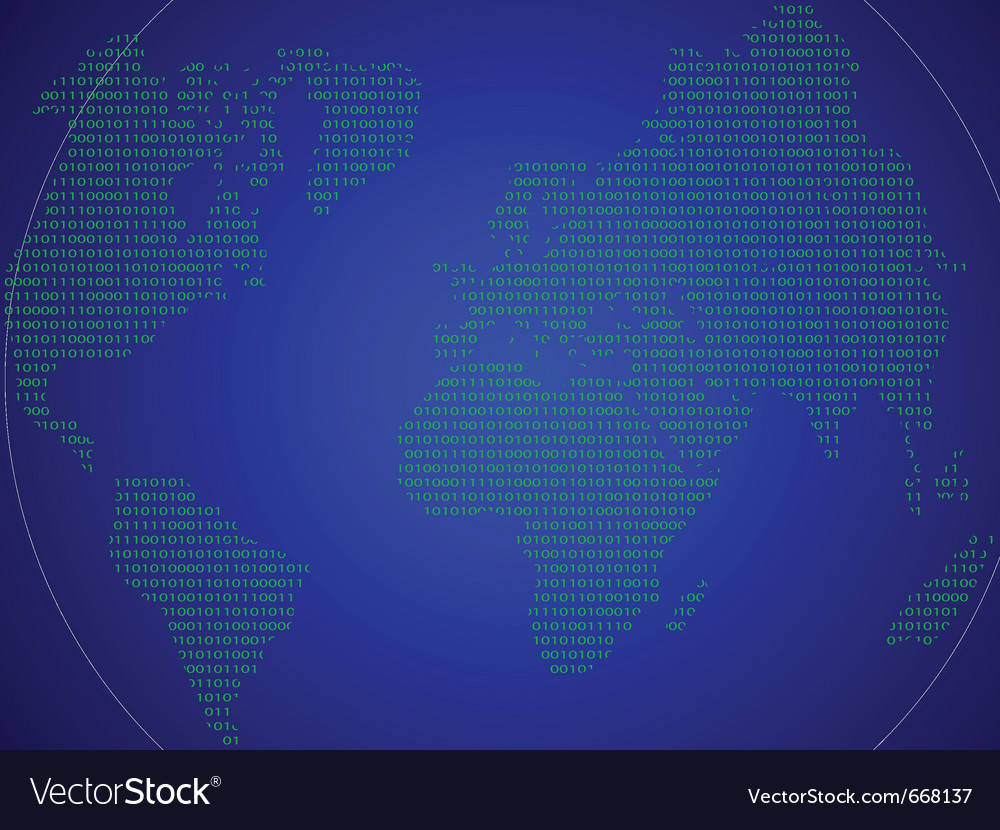 Abstract world map made in the form of binary code vector