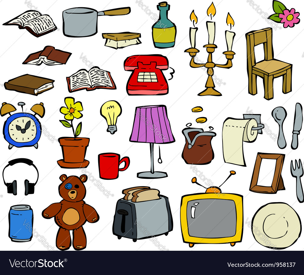 Doodle household items vector