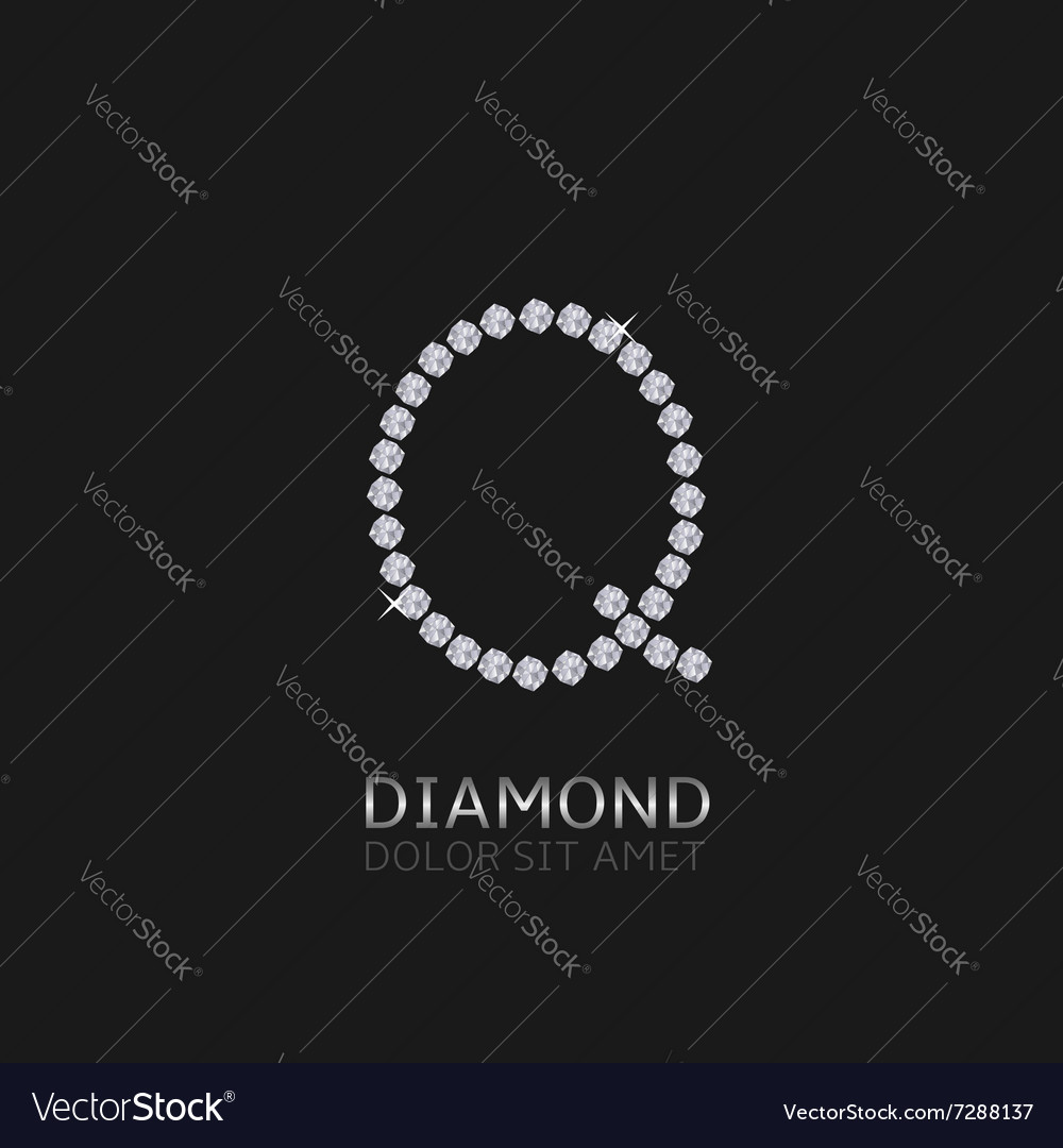 Letter q with gemstones vector