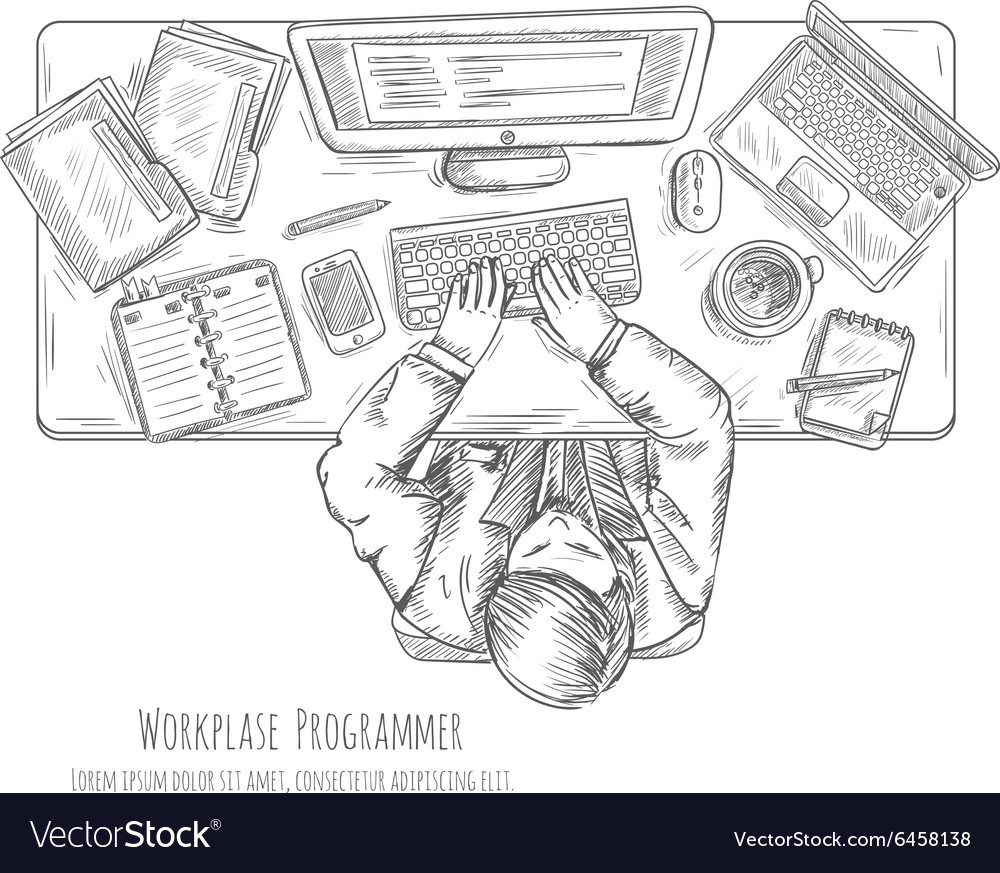 Programmer work place sketch vector