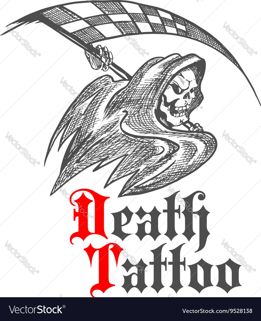 Skeleton with racing flag for tattoo design vector