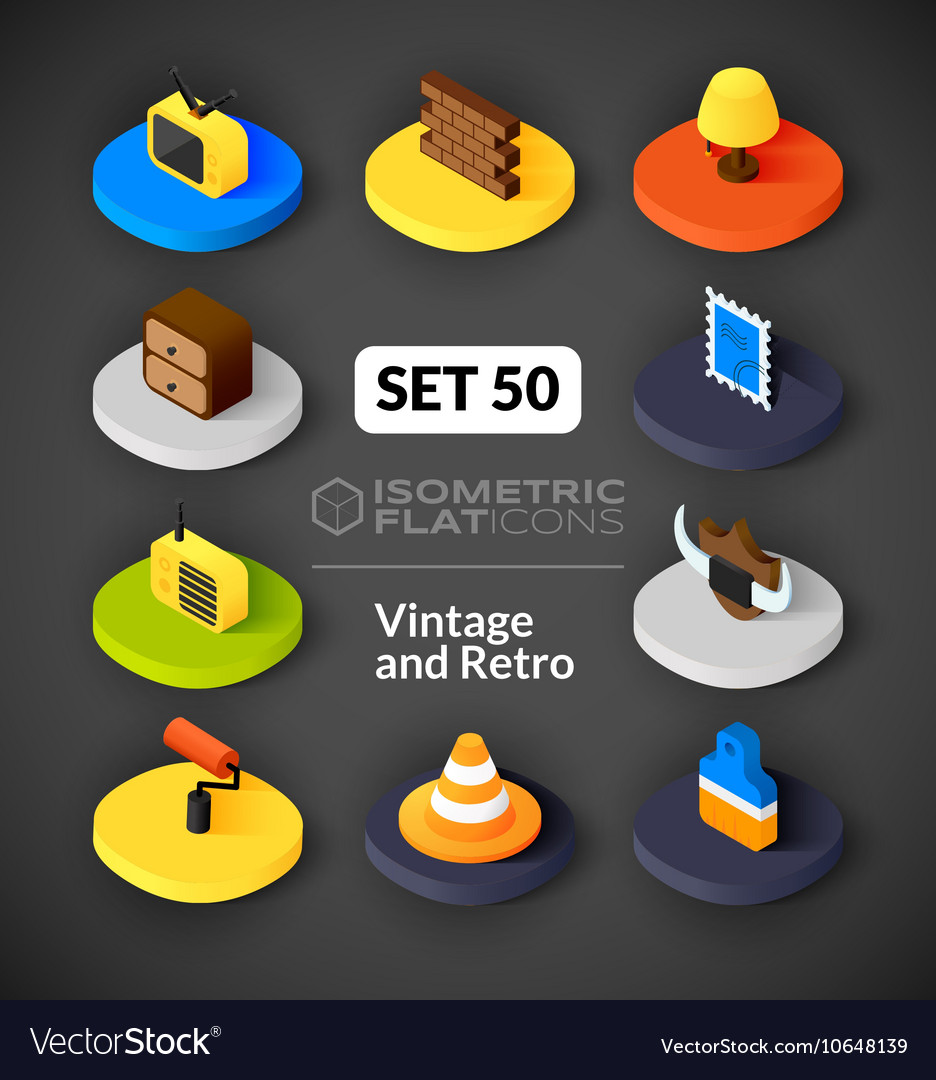 Isometric flat icons set 50 vector