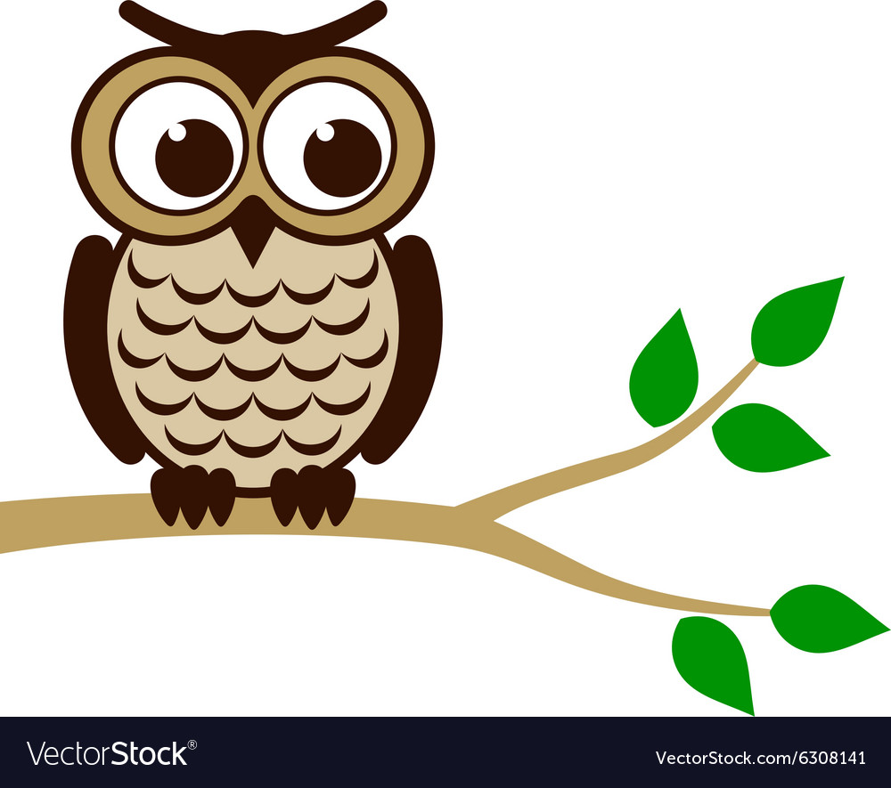 Funny owl sitting on branch vector