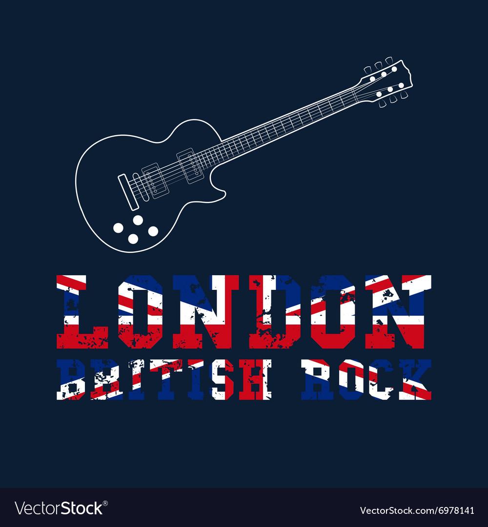 London british rock typography vector