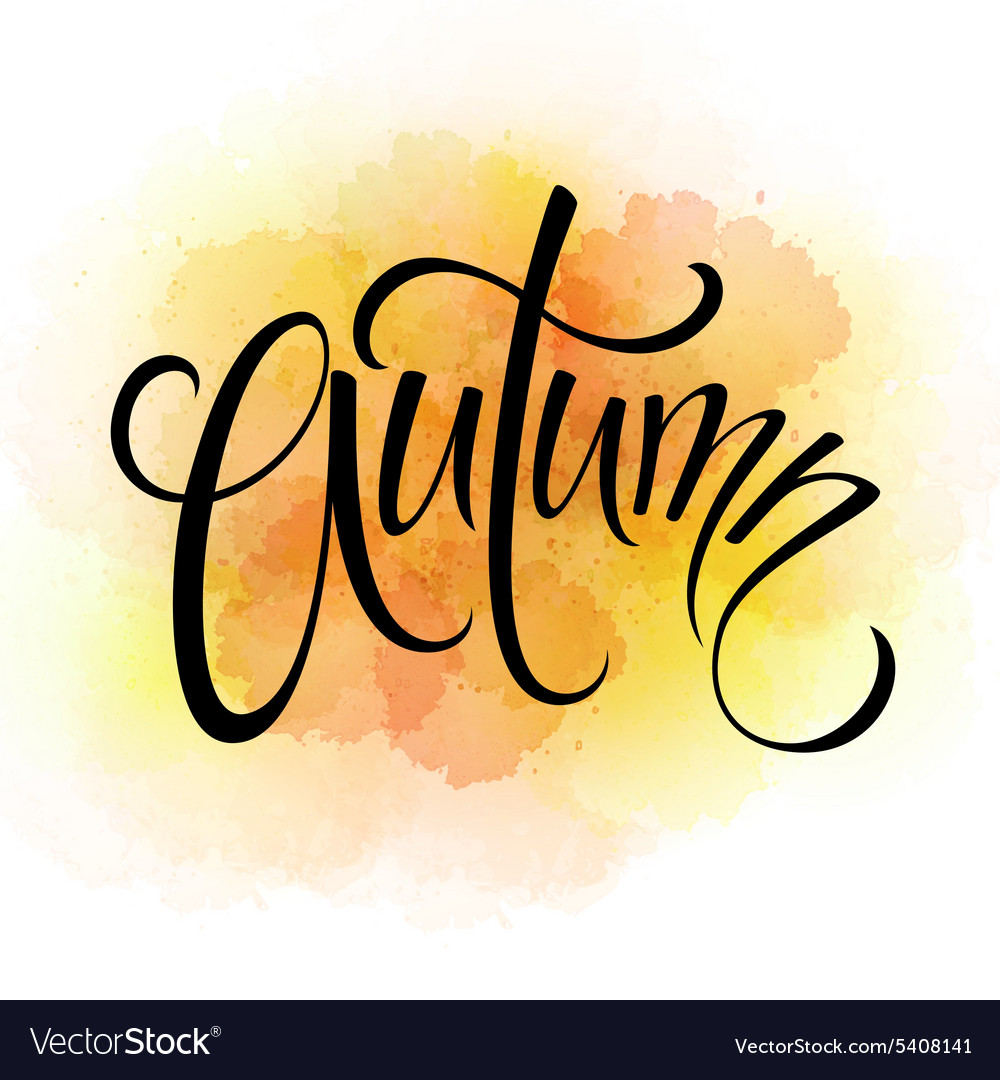Word autumn and three leaves watercolor vector