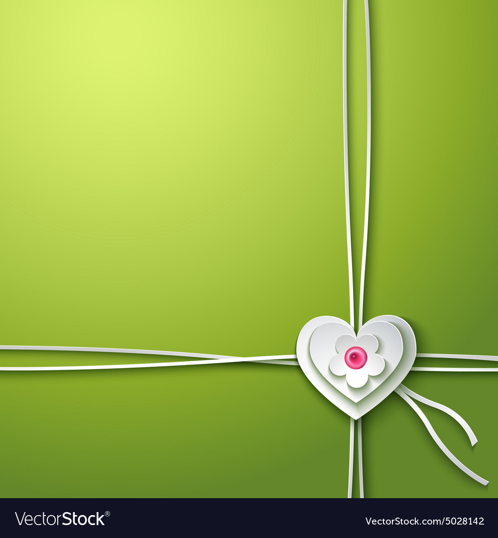 Background with paper heart and flower vector